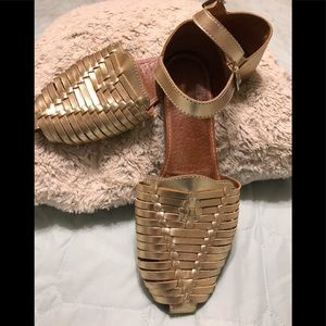 Leather metalic sandals huaraches